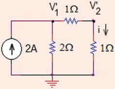 .3 Linearity and Superposition 53 Problem.3.6 Use superposition theorem to find the values of voltages at nodes and in the circuit shown in Fig..79.