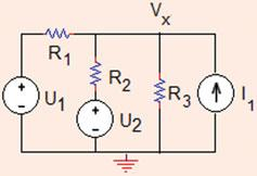 4.4 In the circuit shown in Fig..88, find the value of voltage V x using source transformation.