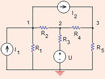 V y D ¼ ¼ 4 ¼ 3 D x ¼ ðþðþ ¼ 5 V x ¼ D x D ¼ 5 V ¼ :667 V: 3 Problem.4.8 Determine the value of voltage at node in the circuit shown in Fig.