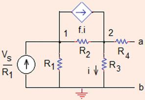 64 Analysis Methods Fig..0 Source transformation applied to the circuit of Problem.4. I and I added together, I ¼ 8 þ 4 ¼ A R eq ¼ ðr þ