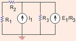.03, V S =V, R = R = R 3 = R 4 =Ω, f = 4 A/A. V =?,V a =?,i =? Use source transformation and node voltage method.