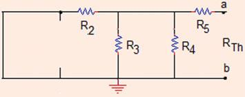 5 Thévenin resistance: When the voltage source is short circuited, V =0V,R is shorted (see, Fig.
