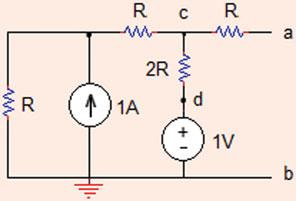 (Hint: Apply source transformation for the current source in calculating Thévenin equivalent voltage.
