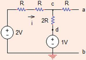 R Th ¼ R ab ¼ ½ðR þ RÞkRþR ¼ R ¼ 4 X: Thévenin equivalent voltage between (a) and (b) terminals of the circuit can be found by applying source transformation to the