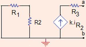 For Thévenin s equivalent circuit to the left of terminals a and b, the voltage source is removed, the first circuit becomes a short circuit, so the R Th only depends on R 3 (Fig..8).