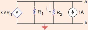 (b) Find the limiting value of k if R = R =Ω. (c) Norton equivalent circuit? (a) The circuit has no independent sources.
