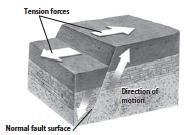 FORCES ON ROCKS A FAULTY REVIEW ;) Three types of forces act on rocks tension, compression, and shear. Describe the three types of faults. Tension is the force that pulls rocks apart.