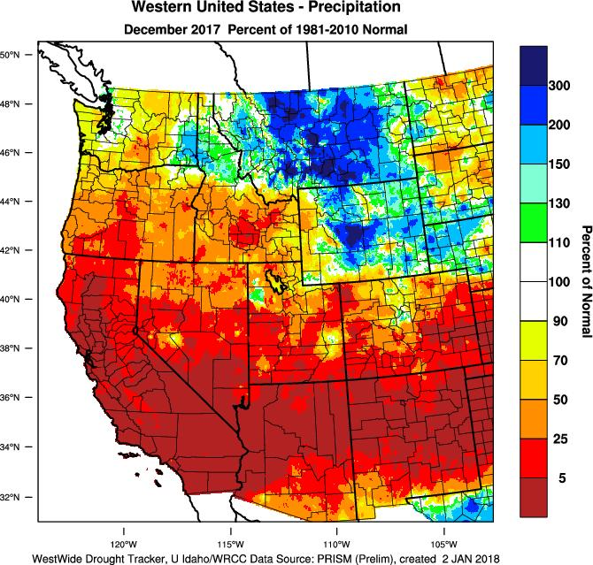 and warmer conditions in the mountains. Another result of the ridge is that the month will go down as one of the driest Decembers on record in many locations in the west.