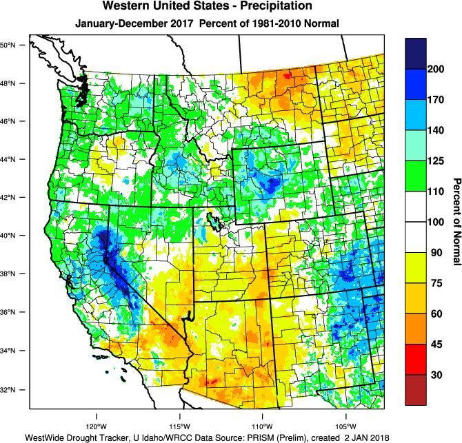 drier than normal. With the end of the year, the final 2017 temperature pattern for the western US shows a mostly warmer than average to near average year (Figure 2).