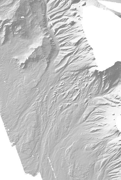 Figure 7. Shaded image of bathymetry west of Dominica illuminated from N320, showing the different debris avalanche deposits (areas with and without megablocks).