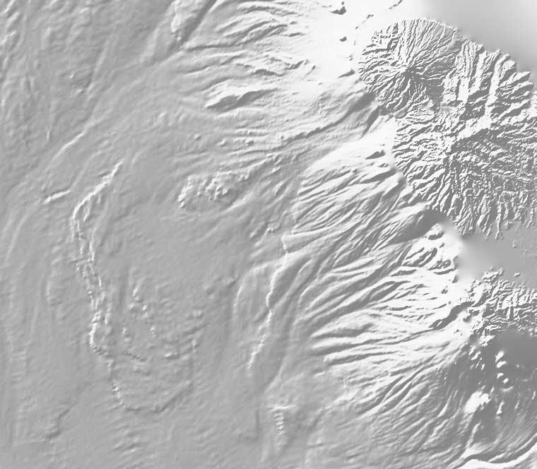 Figure 8. Shaded image of topography and bathymetry of Martinique illuminated from N320.