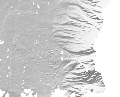 Figure 11. Shaded image of bathymetry west of St. Lucia illuminated from N320, showing the different debris avalanche deposits.