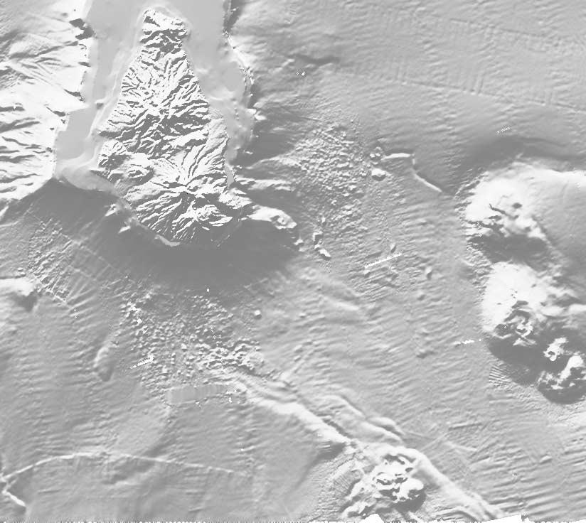 Figure 4. Shaded image of topography and bathymetry of Montserrat (illuminated from N320 ) showing debris avalanche deposits on land and offshore, main submarine troughs and flank collapse structures.