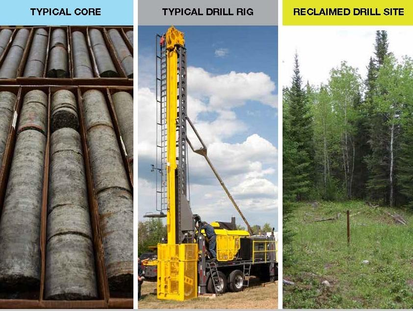 How Will We Explore Diamond Drilling Photos of drill core, a drill rig and a reclaimed drill site the photo of the reclaimed drill site