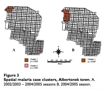 Results- Example 4 Spatial clustersclusters in 4 of 7 villages.