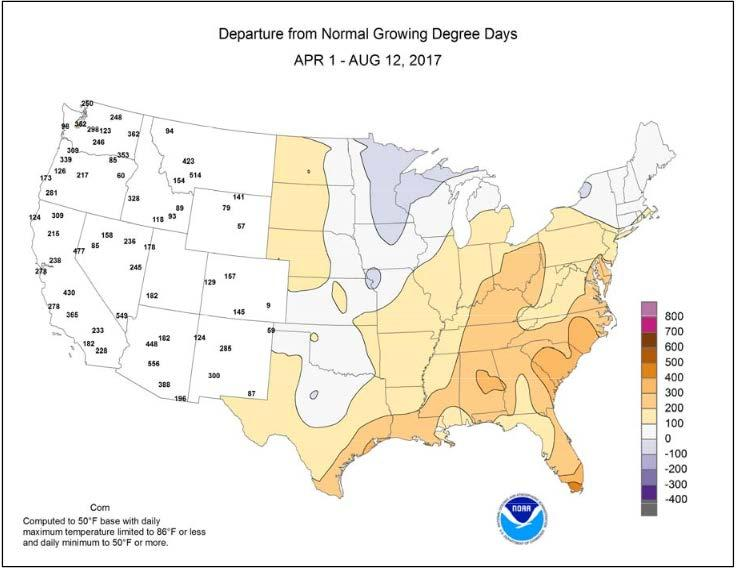Departure from Normal Growing Degree Days April 1-August 12, 2017 Computed for corn using a