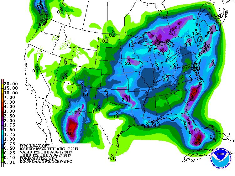 7 Day QPF valid from August 17-24, 2017