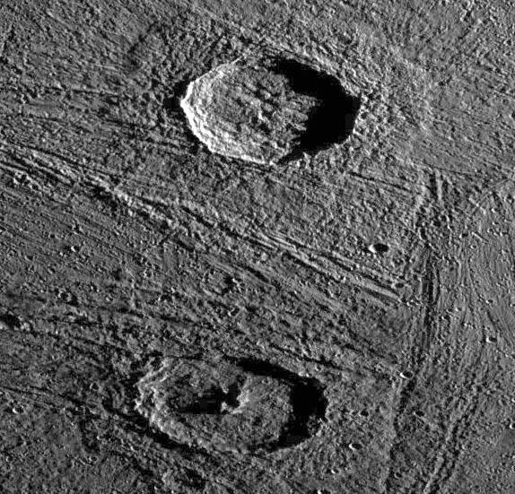 Ganymede (Young Craters on Grooved and ridged Terrain) Gula - 38 km Achelous - 32 km Grooves and ridges on Ganymede surfaced