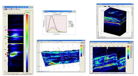 Upper half of images in Figure 5, shows examples of different representations of seismic data in the spectral domain.