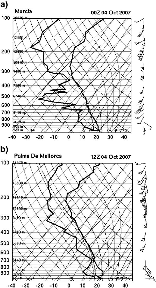 J.B. Cohuet et al. / Atmospheric Research 100 (2011) 603 620 613 Fig. 10. Soundings on 4 October 2007 from: (a) Murcia at 0000 UTC, and (b), Palma at 1200 UTC.