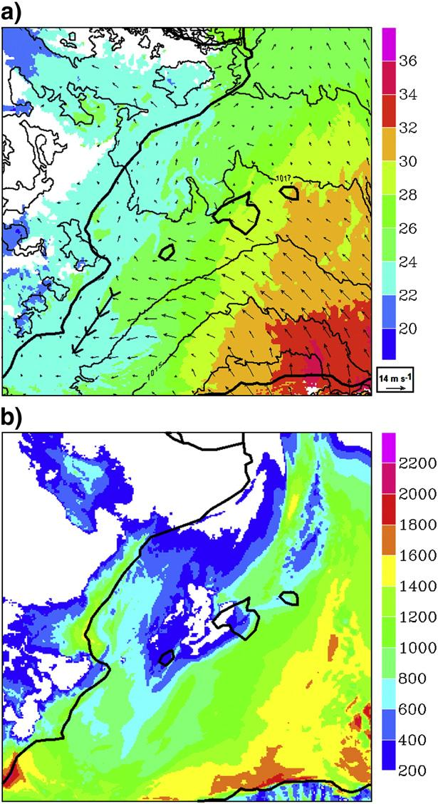 614 J.B. Cohuet et al. / Atmospheric Research 100 (2011) 603 620 Fig. 13. Horizontal wind shear intensity (shaded, m s 1 ) over the sea below 3000 m asl in MNH 2.