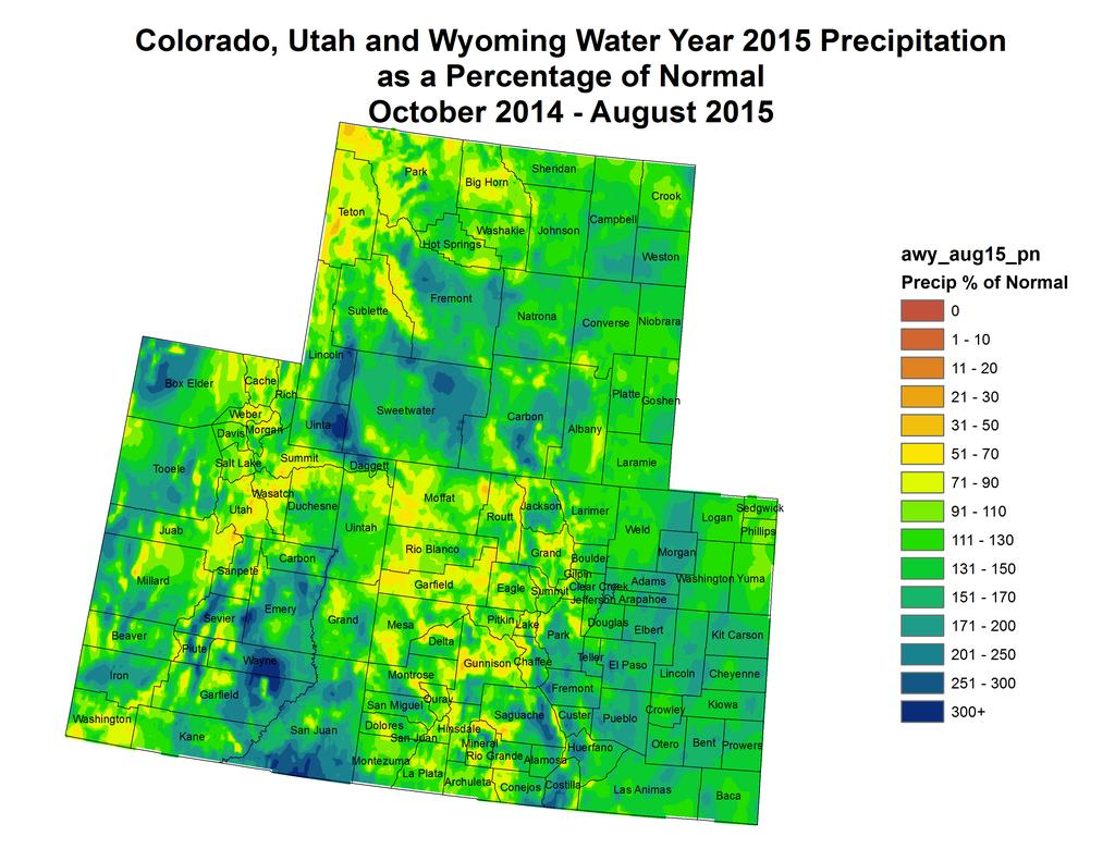 "week across most of the basin and Colorado east of the divide. Totals in the Upper Green River Basin were mostly below 0.10"" with some higher totals upwards of 0."