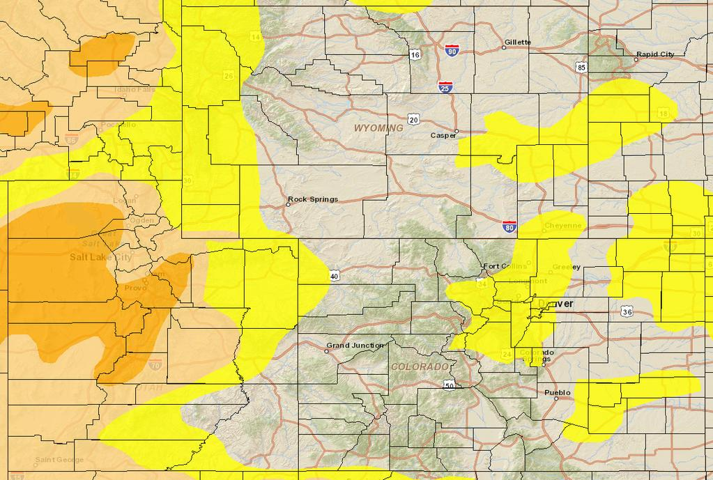 9/29/2015 NIDIS Drought and Water Assessment Longer Term: The 8 14 day precipitation outlook shows increased chances for above normal precipitation most of the UCRB, and all of Colorado east of the
