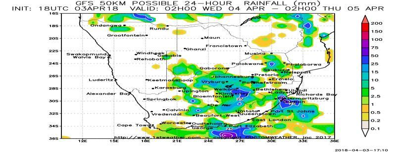 00 inches with several areas from eastern Northern Cape and western North West through Free State and Natal that receive more than 3.00 inches of rain.
