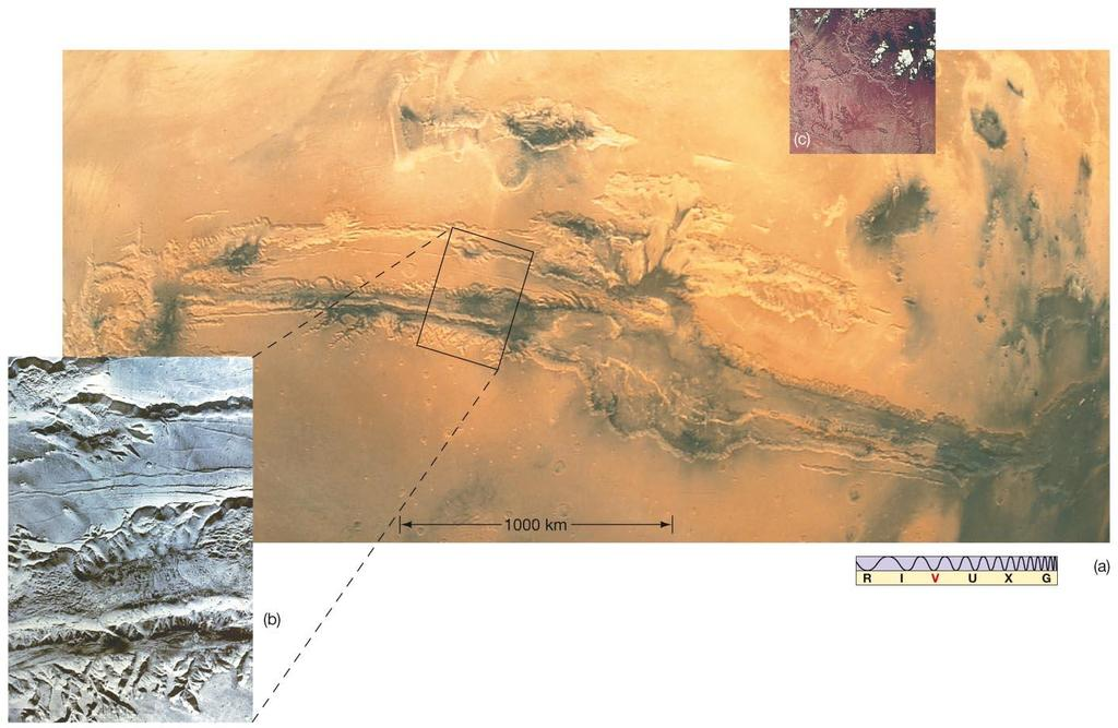 10.4 The Martian Surface Valles Marineris: Huge canyon, created by crustal forces