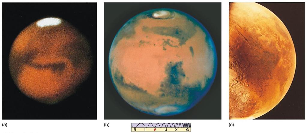 10.3 Long-Distance Observations of Mars From Earth, can see polar ice caps that