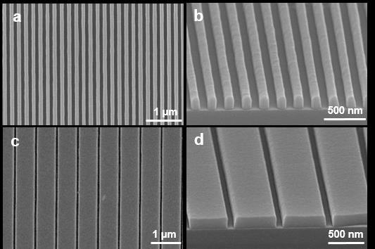 Supplementary Figure 1. SEM images of perovskite single-crystal patterned thin film with nanoscale width. (a) The perovskite thin film consisting of 100-nm-wide strips aligned in one direction.