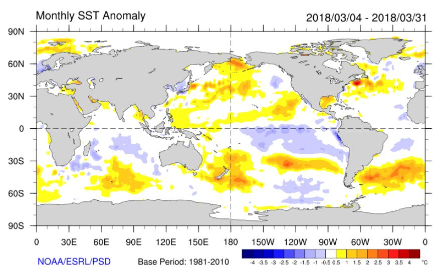 Global setting: March 2018 Weak La Niña conditions continued in the tropical Pacific during March 2018, but trends in low-level winds and in sub-surface ocean temperatures during the month indicate