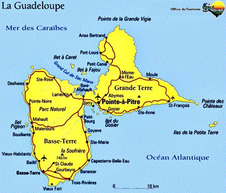 4. Guadeloupe comprises 2 main islands as shown. The two islands, Grande-Terre and Basse- Terre are separated by a narrow channel.