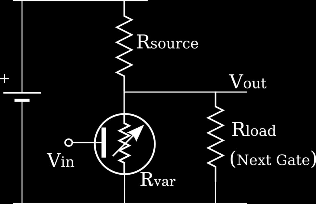 When the switch is open the output goes high and settles at a positive voltage (the exact value depends on the resistors R source and R load ).