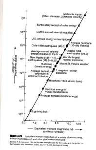 The size of the rupture zone and the displacement along this zone in some large quakes is given in Table1 below, and the amount of energy of the 1960 earthquake in Chile, the largest