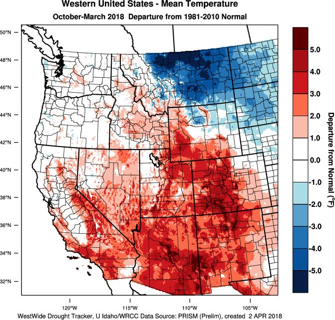 The cooler than average March brought much of the west to near average temperatures (+1 to -1 F) for the winter (Figure 2).