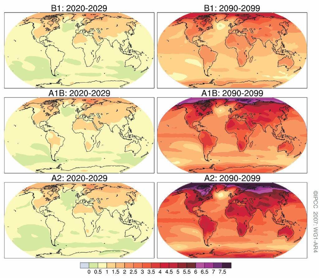 Projections of Future Changes in Climate Projected warming in 21st century expected to be greatest over