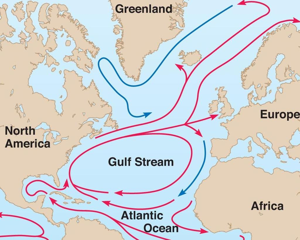 Convection causes ocean currents to form in water as cooler water near the poles sinks and is replaced by warm water