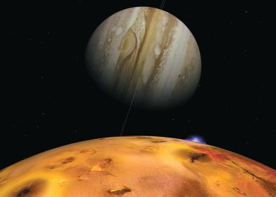 The Galilean satellites Io (shown here) has several active volcanoes. The most volcanic active body in the solar system Europa has an icy crust with a subsurface ocean.