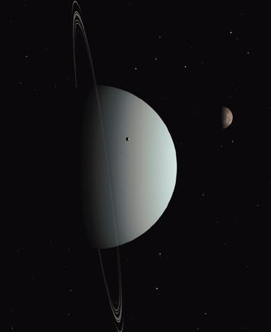 Uranus Average distance from Sun: 19.2 AU Radius: 25,559 km, 4.0 radius of Earth Mass: 14.5 Mass of Earth Average density: 1.