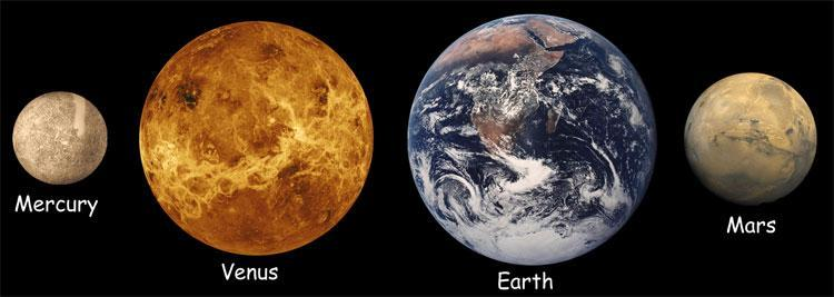 The four terrestrial (inner) planets Sizes to scale Small in size and mass Composed primarily