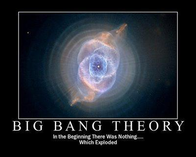 very tiny, dense singularity More on the Big Bang Theory The theory states: the universe
