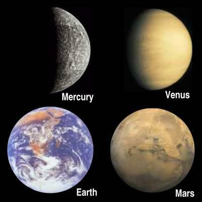 Mercury Venus Earth Mars Small, solid, rocky surfaces Jovian