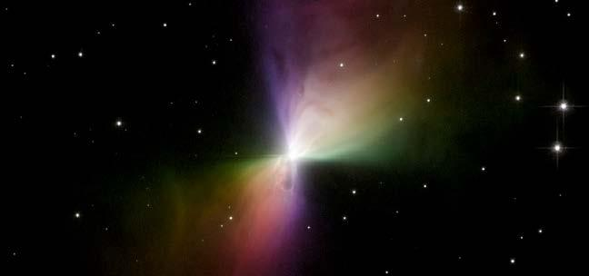 Reflection nebulae are cooler than emission nebulae and do not give off their own light. Instead, they reflect the light from nearby stars. This reflection nebula is known as the Boomerang Nebula.