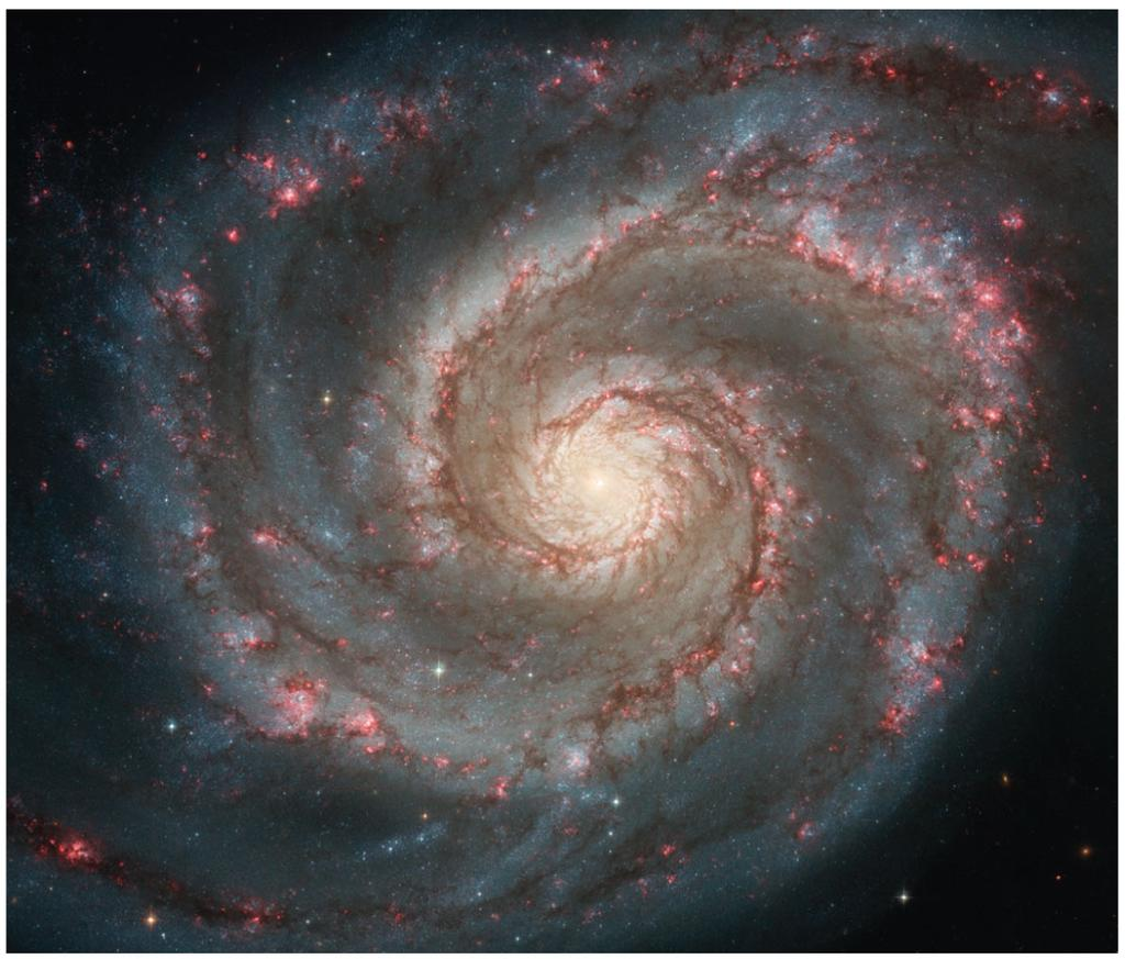 Spiral Arms Whirlpool Galaxy Much of star formation in disk happens in spiral arms.