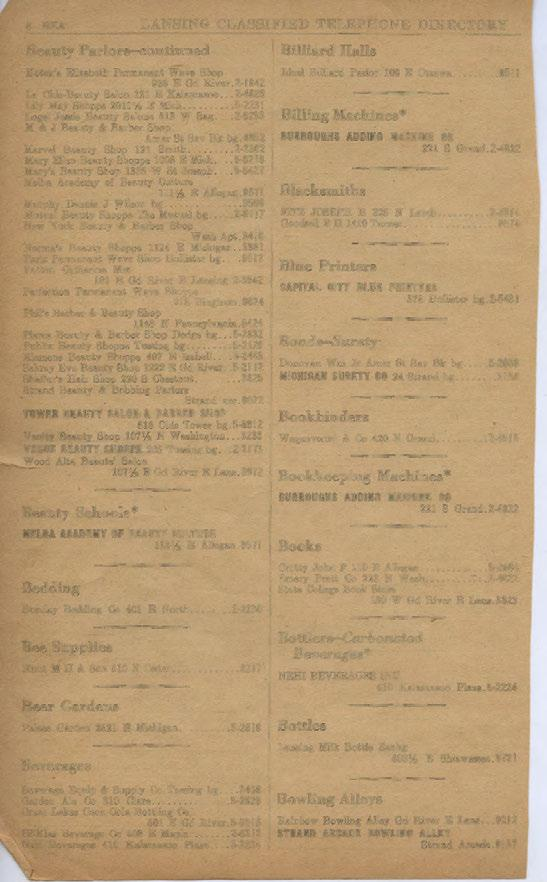8 BEA LANSING CLASSIFIED TELEPHONE DIRECTORY Beauty Parlors-continued Kotek's Elizabeth Permanent Wave Shop 936 E Gd Iliver.2-1942 La Chic-Beauty Salon 121 E Kalamazoo.