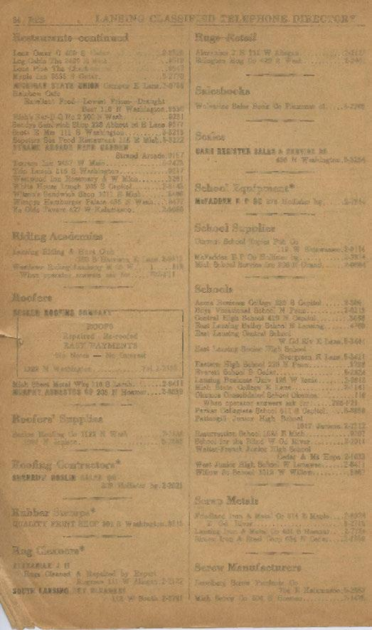 34 RES LANSING CLASSIFIED TELEPHONE DIRECTORY Restaurants-co11tinued Lenz O~car C 409 S Cedar... 2-8520 Log Cabin Tbe 3499 E Mich... 9519 Lone Pine The Charlotte rd... 9547 Maple Inn 3.335 S Cedar.