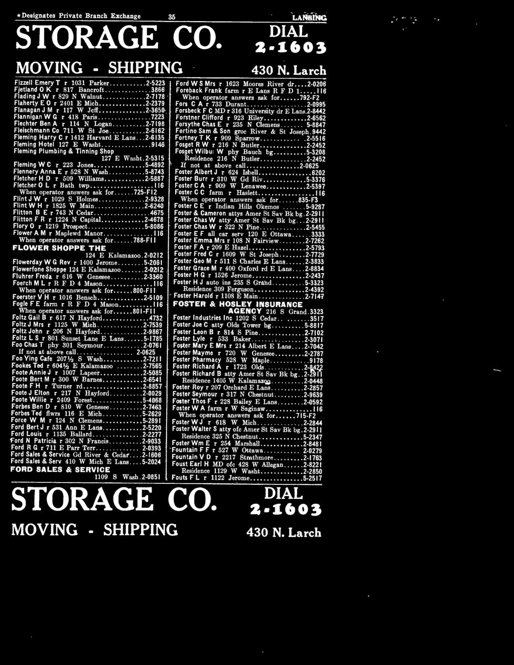 * Designates Private Branch Exchange 35 LANSING STORAGE CO. MOVING - SHIPPING Fizzell Emery T r 1031 Parker.... 2 5223 Fjetland O K r 817 Bancroft...... 3866 Flading J W r 829 N Walnut.
