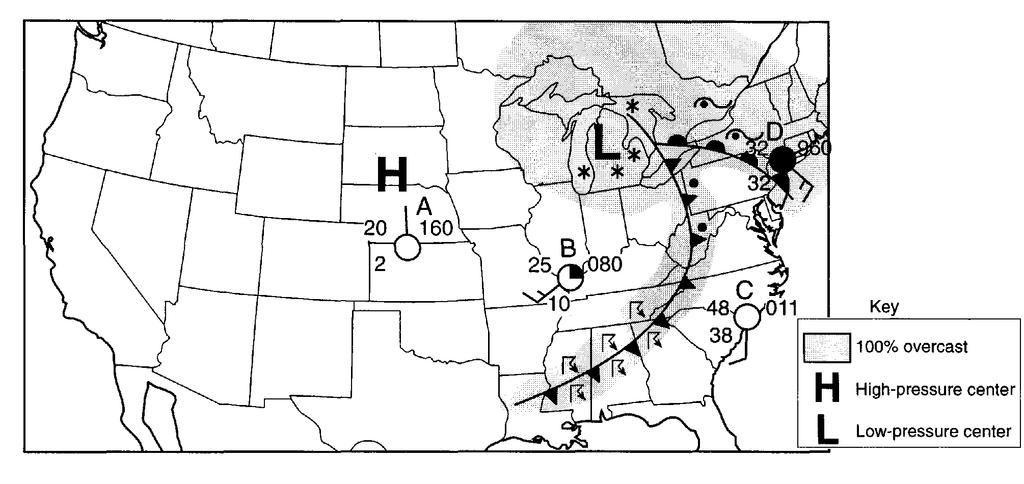 51. Base your answer to the following question on the weather map below, which shows a storm system centered near the Great Lakes. Letters A through D represent weather stations shown on the map.