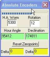 SetupControlCardAbsolute Encoders This is another diagnostic tool. It shows the absolute encoder counts. The encoders have 8192 pulses per revolution and up to 4096 revolutions.